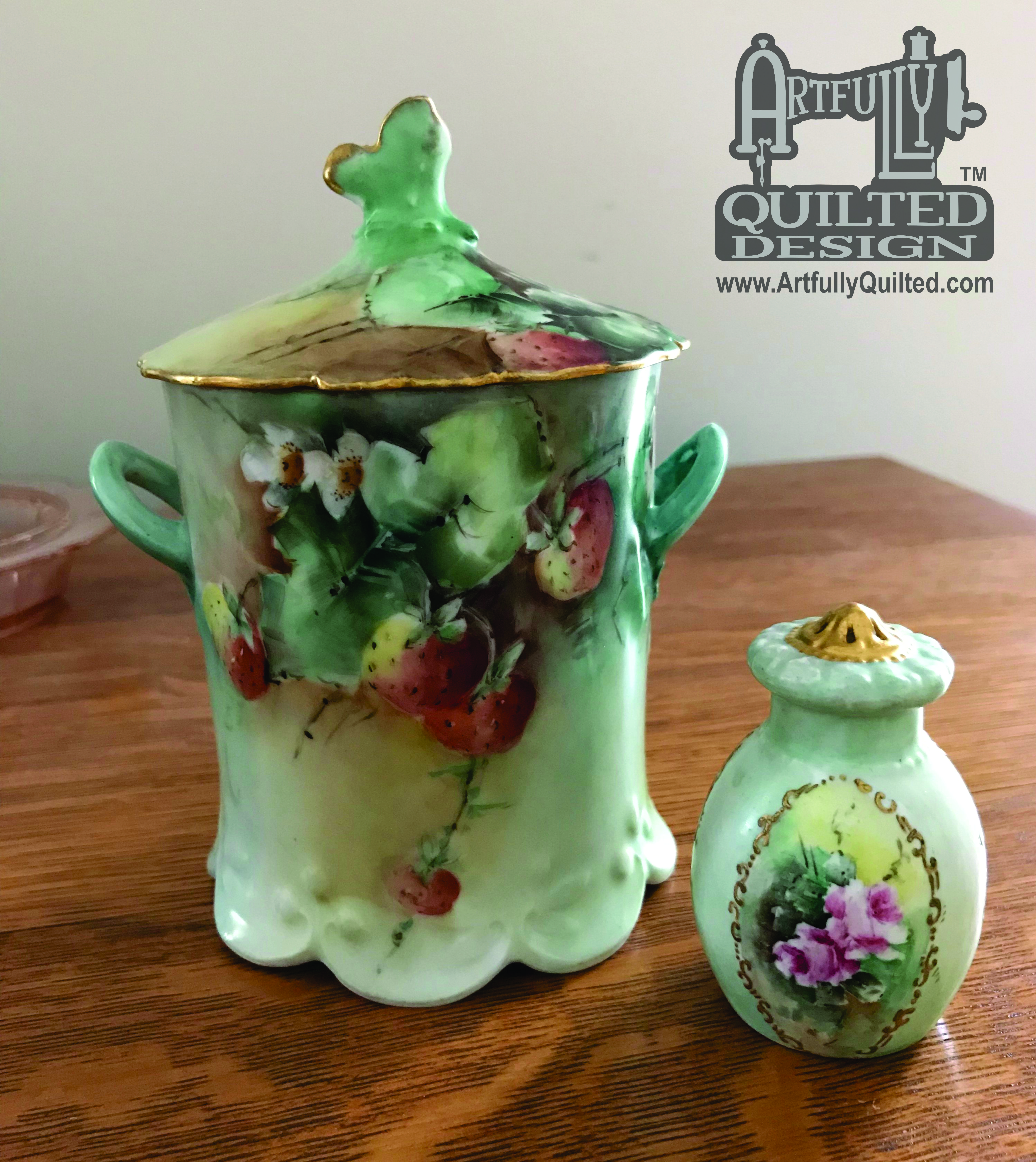 Hand Painted China Jelly Jar and Salt Shaker