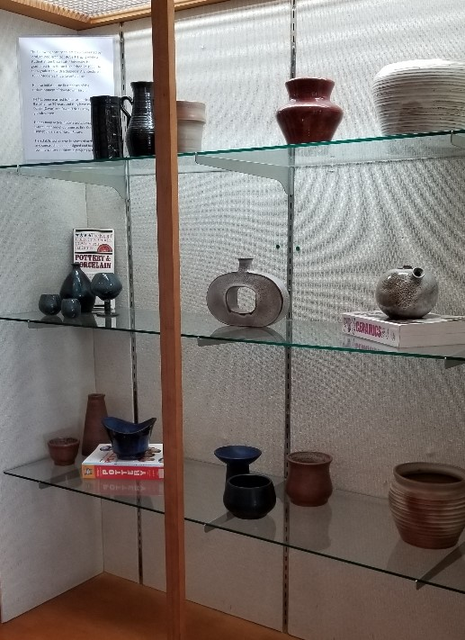 Hand thrown pottery on display