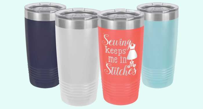 Sewing Themed 20 oz Travel Mug Cup Tumber Navy White Coral Light Blue
