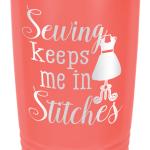 Sewing Themed Travel Mug Cup Tumber Coral