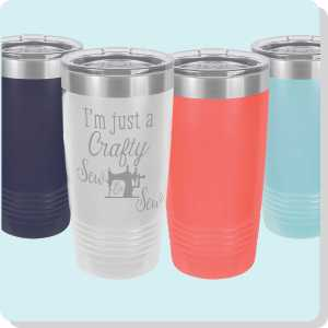20 oz Stainless Steel Tumbler with Quilting and Sewing related design